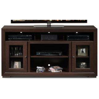 Smart & Stylish. For a look that's perfectly versatile, and storage that's sized just right, turn to the Myra TV credenza. This media unit offers glass-enclosed cabinets, open shelving and cross-wiring organization, all ideal for a range of audio/video components and accessories. The clean lines, brown finish and brushed nickel hardware maintain transitional style that fits most any décor. Made in Canada. Customer assembly is required.