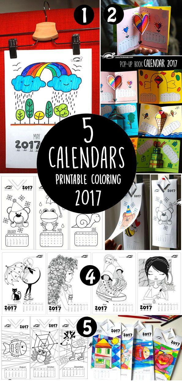 5 Printable Coloring Calendars 2017