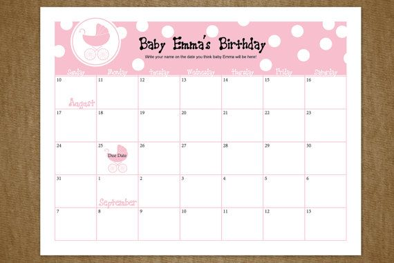 Baby Due Date Calendar Customized Guessing by jackaroodesigningco