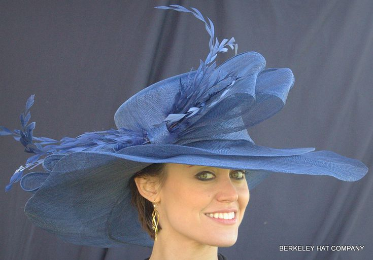 Woman in Blue Kentucky Derby Hat