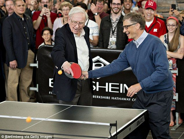 """Warren Buffett and Microsoft founder Bill Gates (pictured at the ping pong table) have encouraged some of the world's richest to do good with their money by creating """"The Giving Pledge."""""""