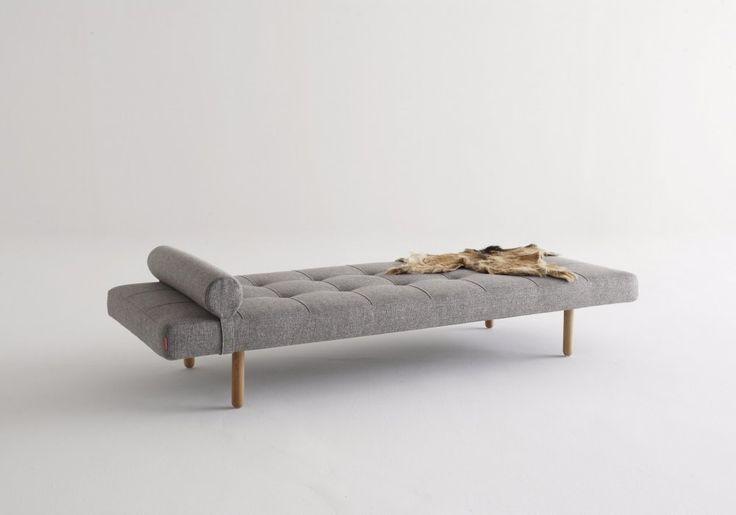 NAPPER Canapé lit gris clair piétement en chêne, 200*80 cm