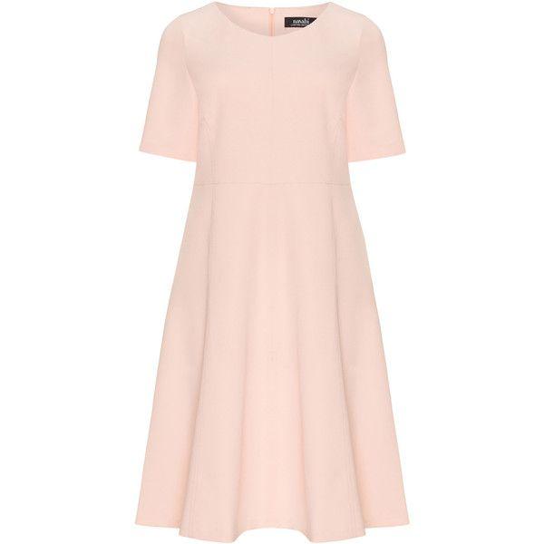 navabi Pink Plus Size Crêpe summer dress (1.800.540 IDR) ❤ liked on Polyvore featuring dresses, pink, plus size, v neckline dress, mid length summer dresses, women plus size dresses, short sleeve dress and pink short sleeve dress