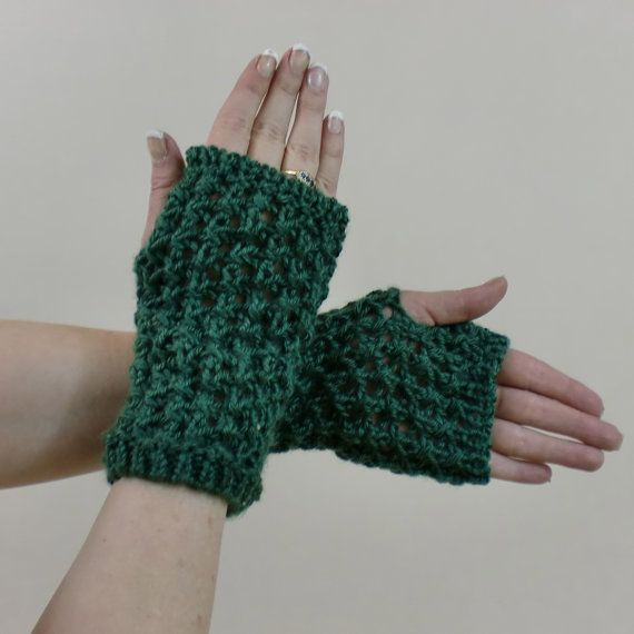 Hobo Gloves Knitting Pattern : Green Fingerless Gloves - Bohemian Lace Mittens - Boho Typing Texting Arm War...