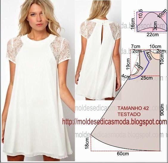PASSO A PASSO MOLDE DE VESTIDO Faça o molde deste belo vestido com as coordenadas que encontra na discrição em baixo. O molde do vestido encontra-se no tamanho 42. Nota: A ilustração do molde do vesti