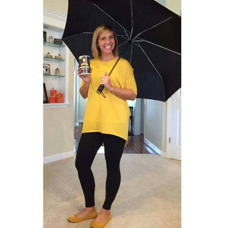 Morton Salt Girl! Yellow LuLaRoe Irma paired with Leggings! Add an umbrella and you are all set! https://www.facebook.com/groups/LuLaRoeKaraStemig/