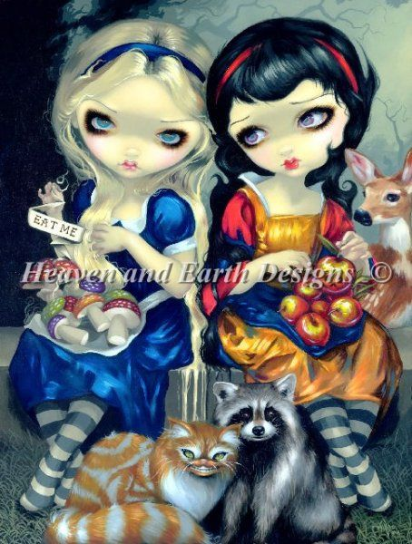 Alice and Snow White : Heaven And Earth Designs, cross stitch, cross stitch patterns, counted cross stitch, christmas stockings, counted cross stitch chart, counted cross stitch designs, cross stitching, patterns, cross stitch art, cross stitch books, how to cross stitch, cross stitch needlework, cross stitch websites, cross stitch crafts