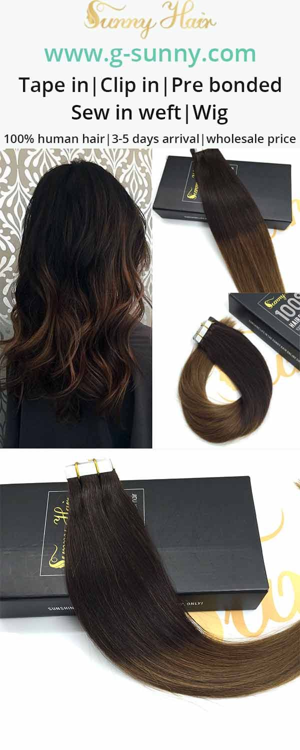 sunny hair tape in 100% remy human hair extensions tape in. brown ombre hair color. g-sunny.com