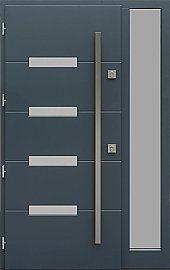 Drzwi zewnętrzne z doświetlem dostawką boczną model  481,3 w kolorze antracytowe