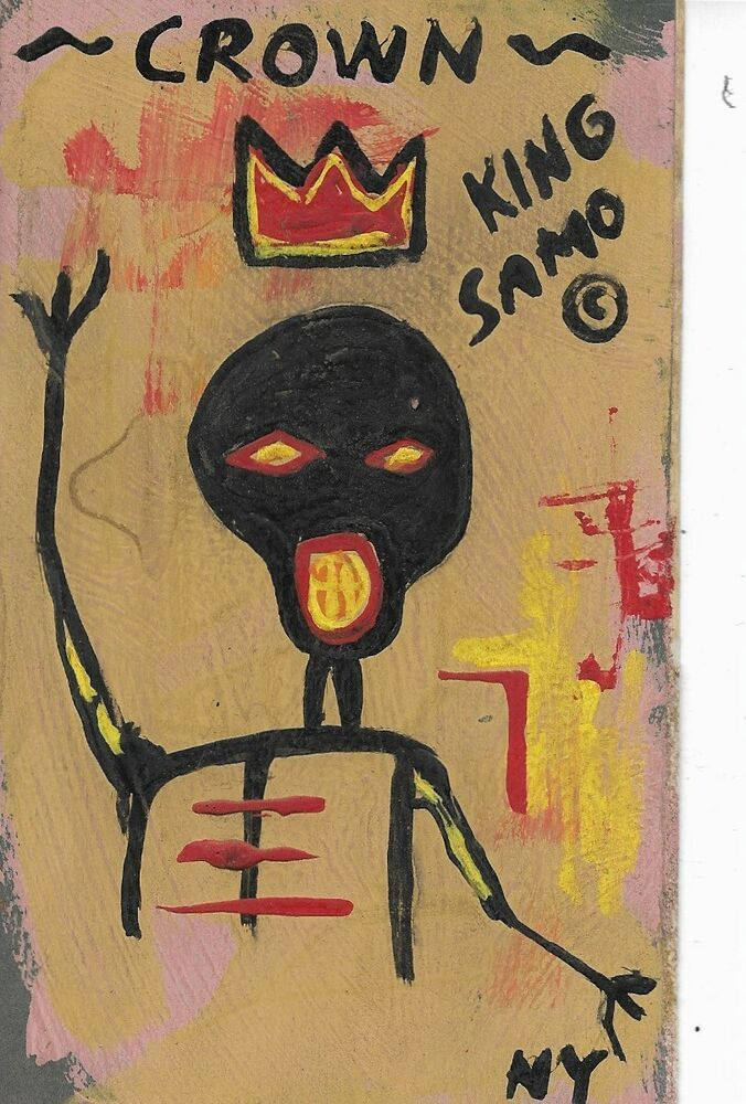 JeanMichele Basquiat NYC Street Art Postcard Painting