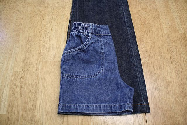 Great tutorial for sewing toddler shorts from the legs of adult jeans.