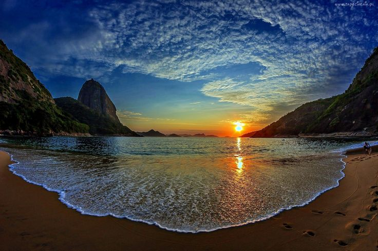 Plaża, Morze, Skały, Wschód słońca