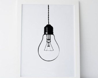 Printable Art Light Bulb Print Light Bulb par ElemenopeeDesignCA