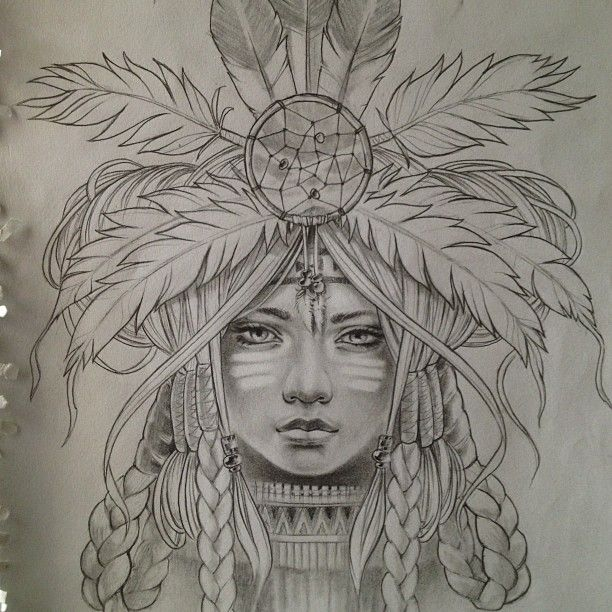 Native american indian girl in skull dreamcatcher print bird skulls tattoo art
