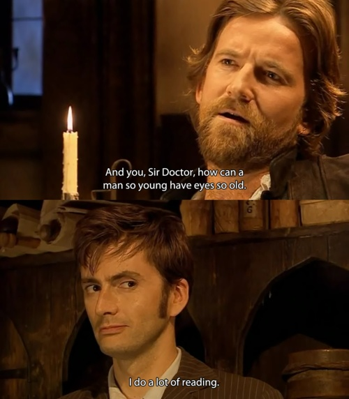Shakespeare and The Doctor. I loved their interaction. I love even more Ten's half-smile in this pic