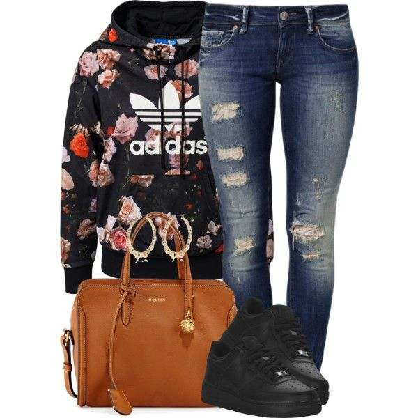 A fashion look from May 2014 featuring adidas Originals sweatshirts, Mavi jeans and Alexander McQueen tote bags. Browse and shop related looks.