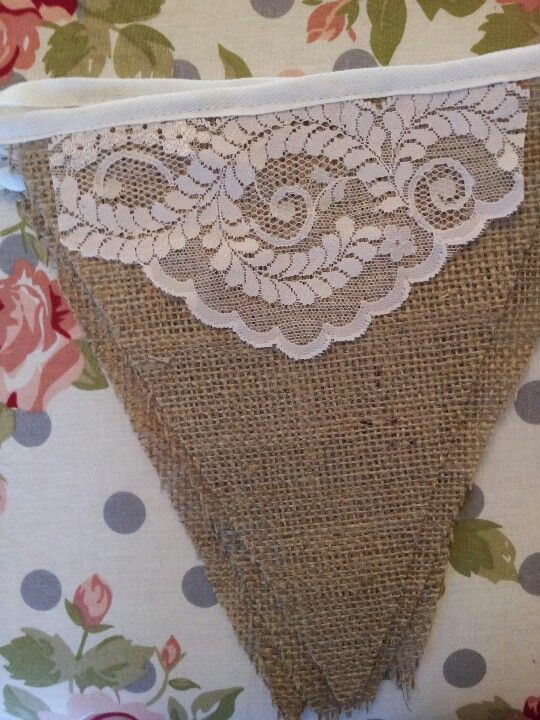 Vintage style burlap and lace bunting. We can create these with your personal color and font preferences