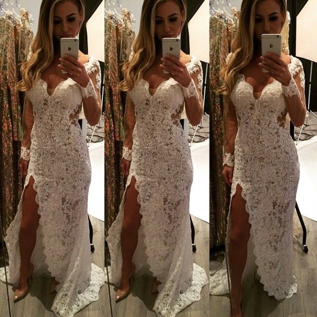 Beautiful Ivory Lace Dress For The Red Carpet, Prom, Or