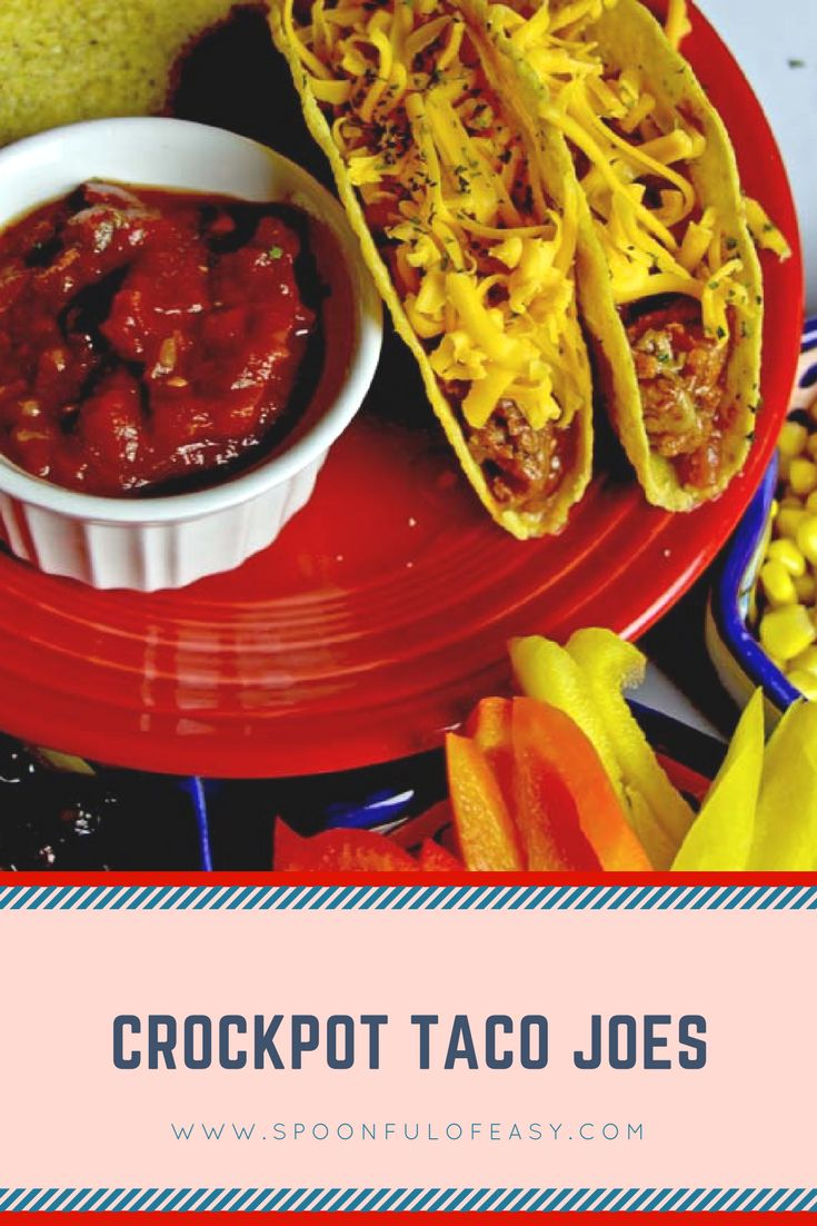 Crockpot Taco Joes ~ taco meat that cooks in the crockpot - even from frozen. Perfect for tacos, nachos or even sandwiches! #crockpottacos #tacomeat #crockpottacomeat