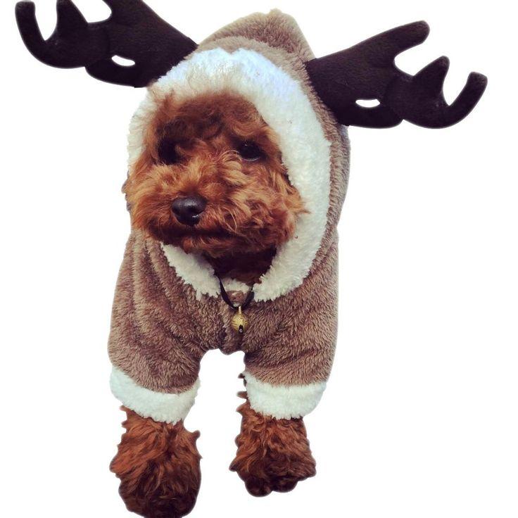 Pet Puppy Dog Renifer Boże Narodzenie Ubrania Kostium Znosić Płaszcz Odzieży Z Kapturem