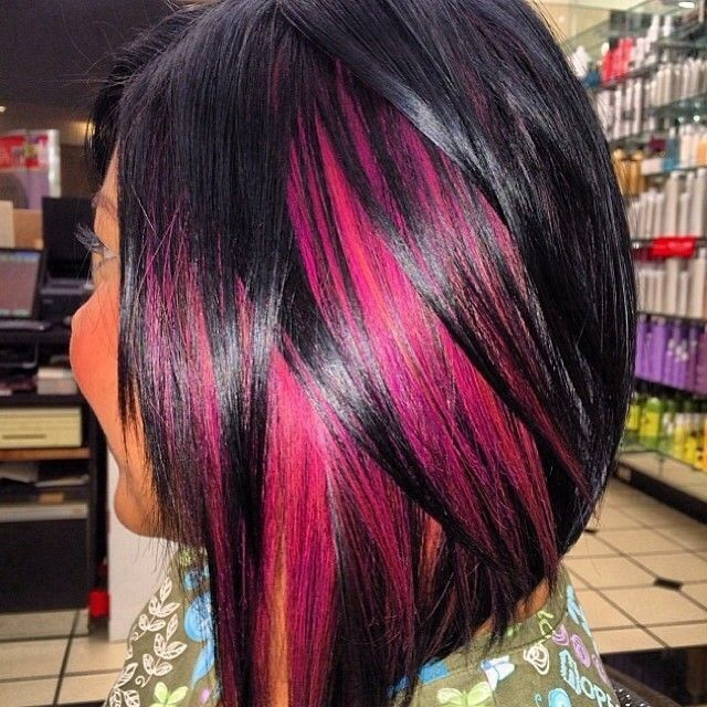 Hot pink highlights in black hair hairs picture gallery hot pink highlights in black hair hd image pmusecretfo Image collections