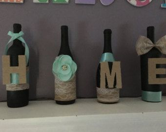 Botella vino casa manto o estante decoración por RusticHousewives
