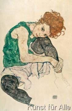 Egon Schiele - Sitzende Frau mit hochgezogenen