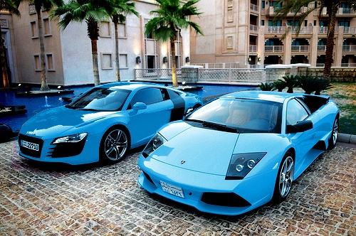 girly enough? a blue car for your cute girlfriend in miami. ha, get it done if she wants that. but really... baby blue?