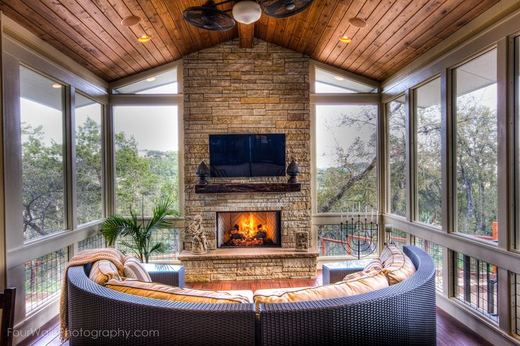 """screen porch with fireplace 