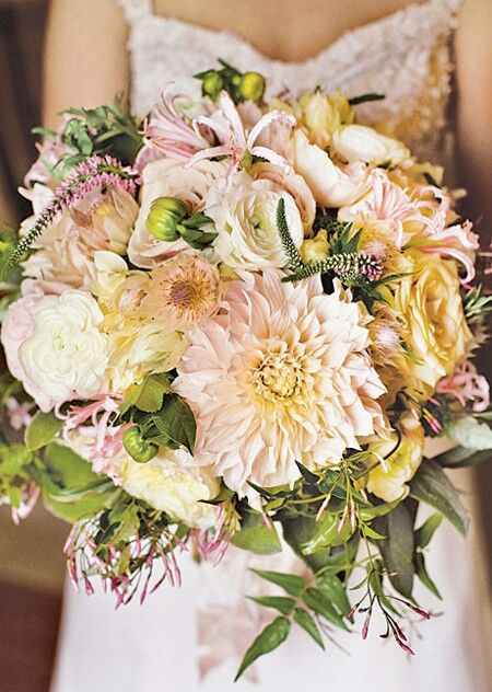 Large, Blush/Cream Dahlias, White Ranunculus, Pink Veronica, Pastel Pink Hurricane Lilies, Blushing Bride Protea, Green Fig, Ivory & Champagne Roses, + Several Varieties Of Greenery/Foliage****