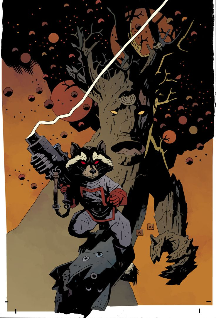 Rocket Raccoon and Groot by Mike Mignola