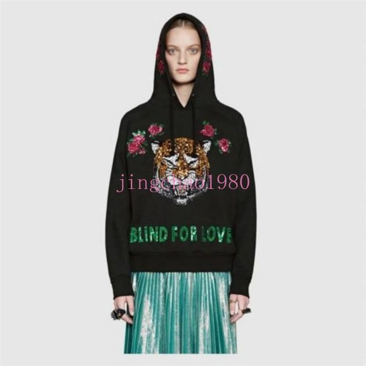 Chic Womens Sweater Hooded Slim Tiger Sequins Jacket Coat Loose Embroidery Rose