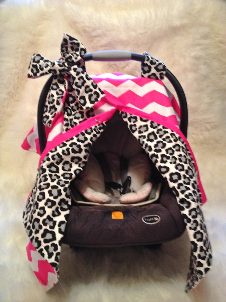If we ever have another child and it's a girl, oh she's getting this!!! CrAzY CUTE Car Seat cover- Pink CHEVRON and Black/Grey Leopard. $49.99, via Etsy.