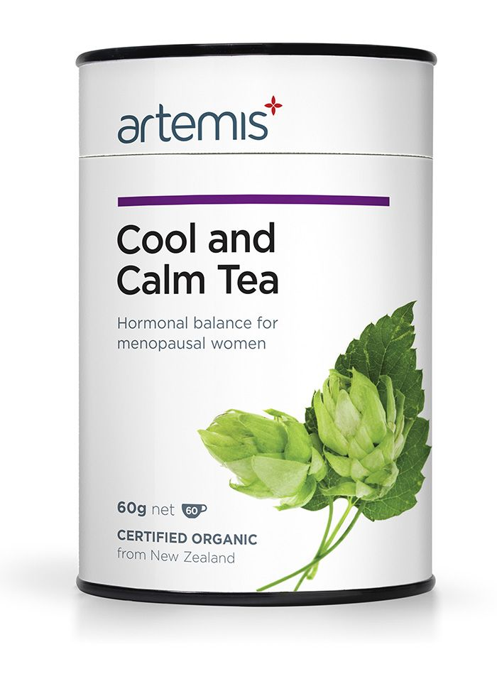 Cool and Calm Tea is for menopause It helps you feel cool, calm and collected and puts common symptoms like hot flushes, night sweats, mood swings and irritability on pause. Certified Organic, from NZ.