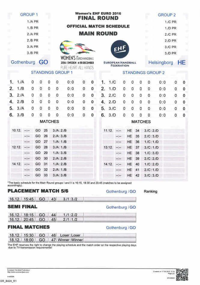 Handball EM 2016 Schweden: Spielplan bis zum EURO-FINALE.   Handball EM 2016 Schweden: Der Spielplan der Handball EHF EURO d ...