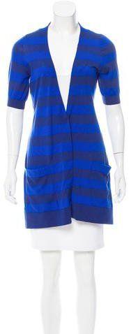 Akris Punto Striped Short Sleeve Cardigan