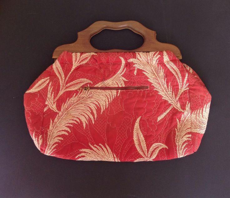 Vintage Knitting Bag : Vintage knitting bag brocade fabric wood handles