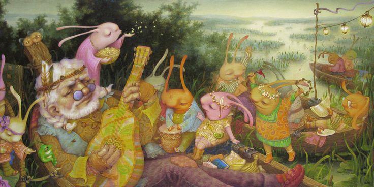 Сообщество иллюстраторов | Иллюстрация Таня Дешковец - Дед Мазай и зайцы. Живопись. Масло