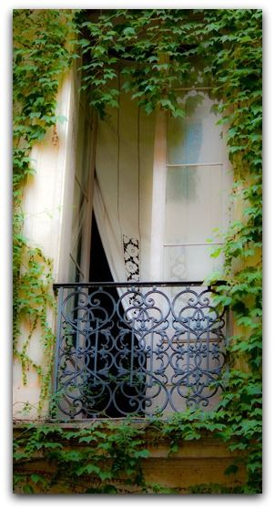 Vine-framed balcony - somewhere in Italy.