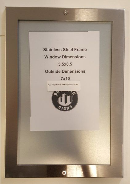 ELEVATOR CERTIFICATE FRAME STAINLESS STEEL (SIZE 5.5''x8.5'')