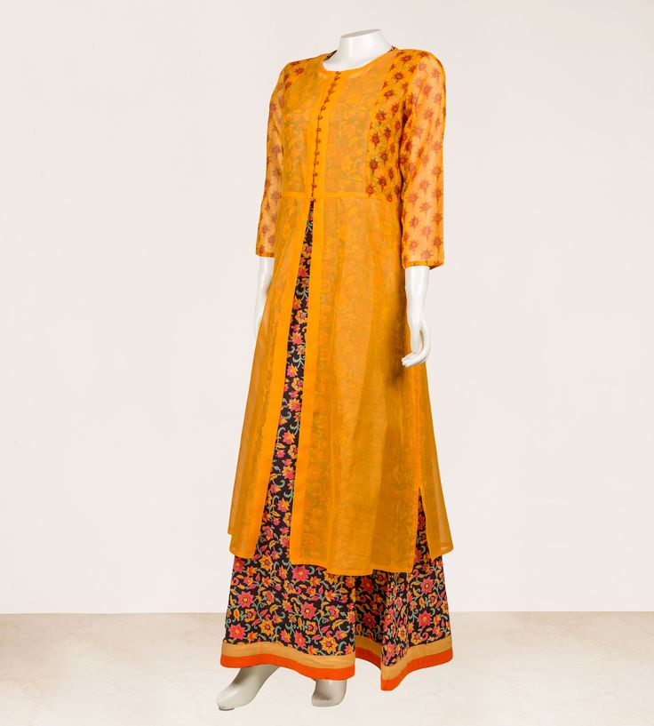 Kurta : Block Printed Yellow / Mustard Chanderi Inner : Hand Block Printed Cotton in Black with Solid Trims