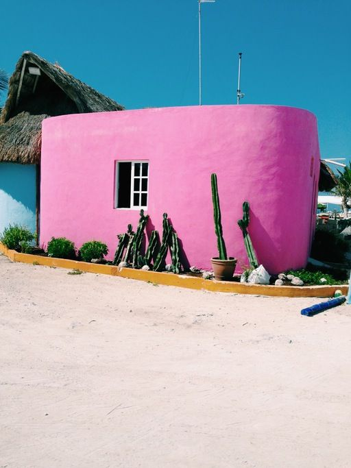 Pink exterior.
