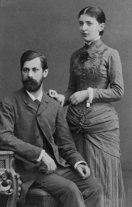 Sigmund Freud (1856-1939) and fiancee Martha Bernays June, 1885 a year before their marriage.