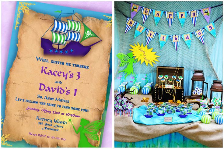 Pirates and Fairies for boy/girl siblings birthday party