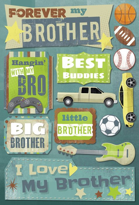 Karen Foster Design - Brothers Collection - Cardstock Stickers - Forever My Brother at Scrapbook.com