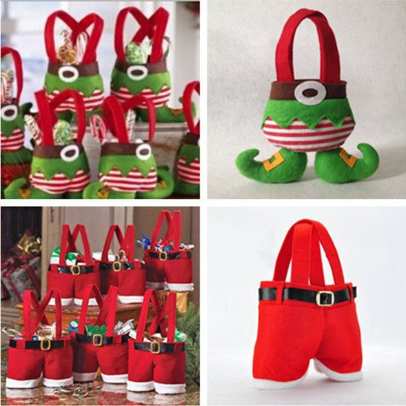 Christmas Santa Pants Elf Spirit Candy Bags Xmas Decoration Sack Cute Child Gift #new