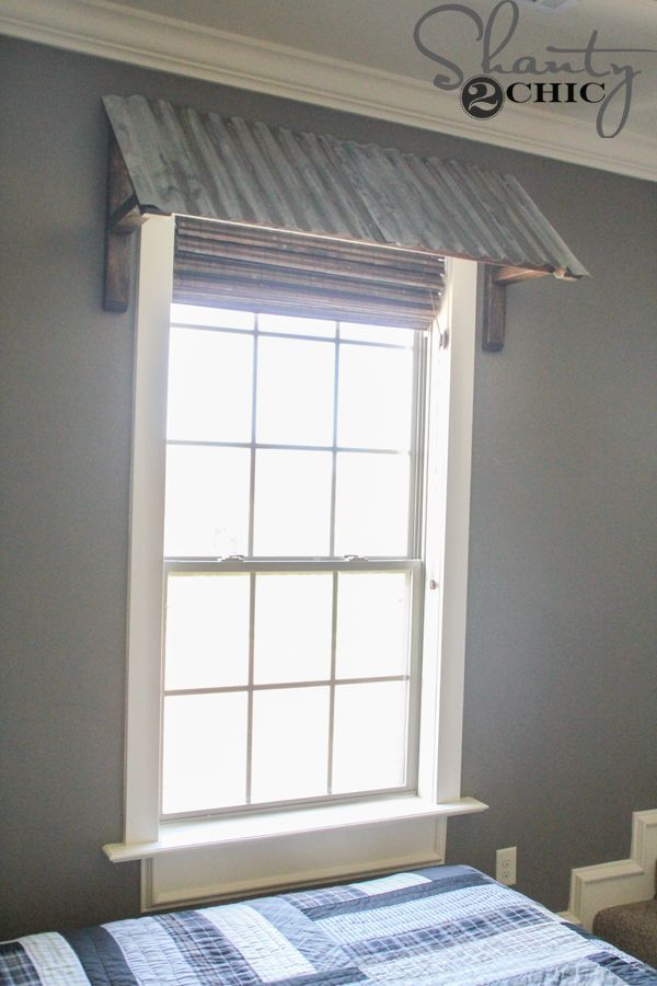Fake metal roof over mirrors or over whole wall with sinks