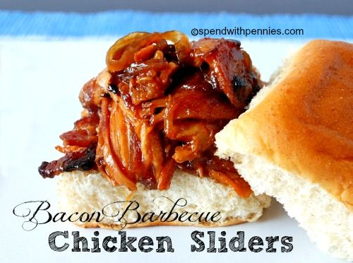 Slow Cooker Bacon Barbecue Chicken Sliders!  Seriously yum ...  you will love this one!