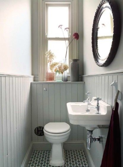 Victorian House London. Tongue & Groove panelling in the downstairs cloakroom painted in Lamp Room Grey, to conceal the cistern. Floor tiles by Topps Tiles. Interior Design by Imperfectinteriors.co.uk