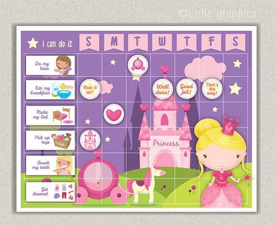 Printable Princess reward chart / chore chart pack / Instant download PDF file